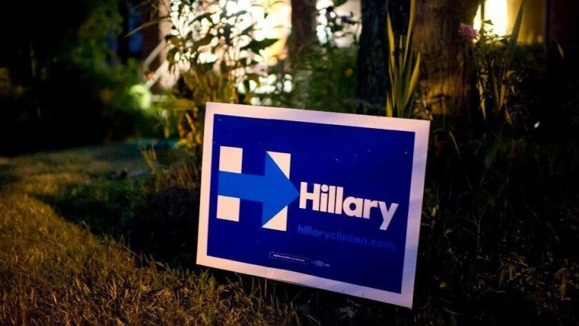 A Hillary Clinton sign is displayed in the front yard of a Pittsburgh home during the 2016 campaign.