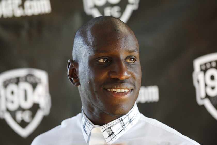 Demba Ba is the owner of San Diego's 1904 FC, shown here at the launch news conference for the pro soccer club in October 2017.