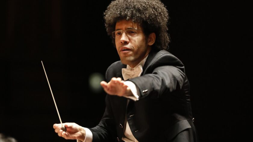 Rafael Payare, San Diego Symphony's music director and conductor, directs the orchestra in this file photo from January 2019.