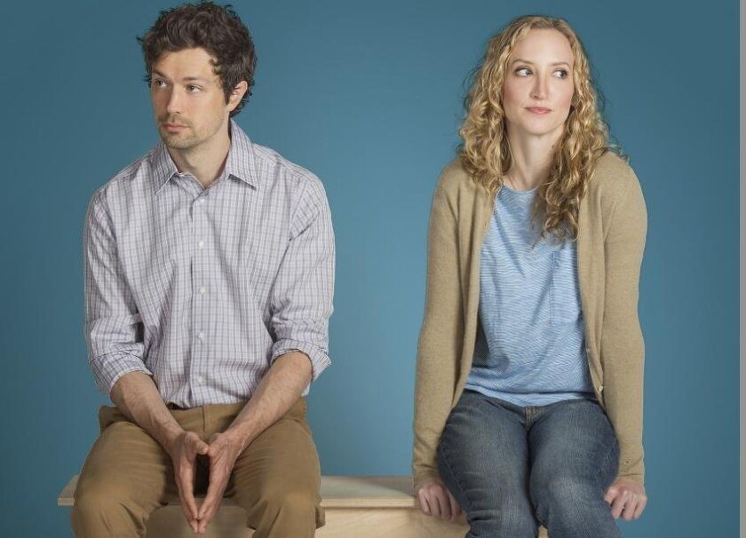 Christian Coulson (Roland) and Victoria Frings (Marianne) star in Nick Payne's 'Constellations,' directed by Richard Seer at The Old Globe.