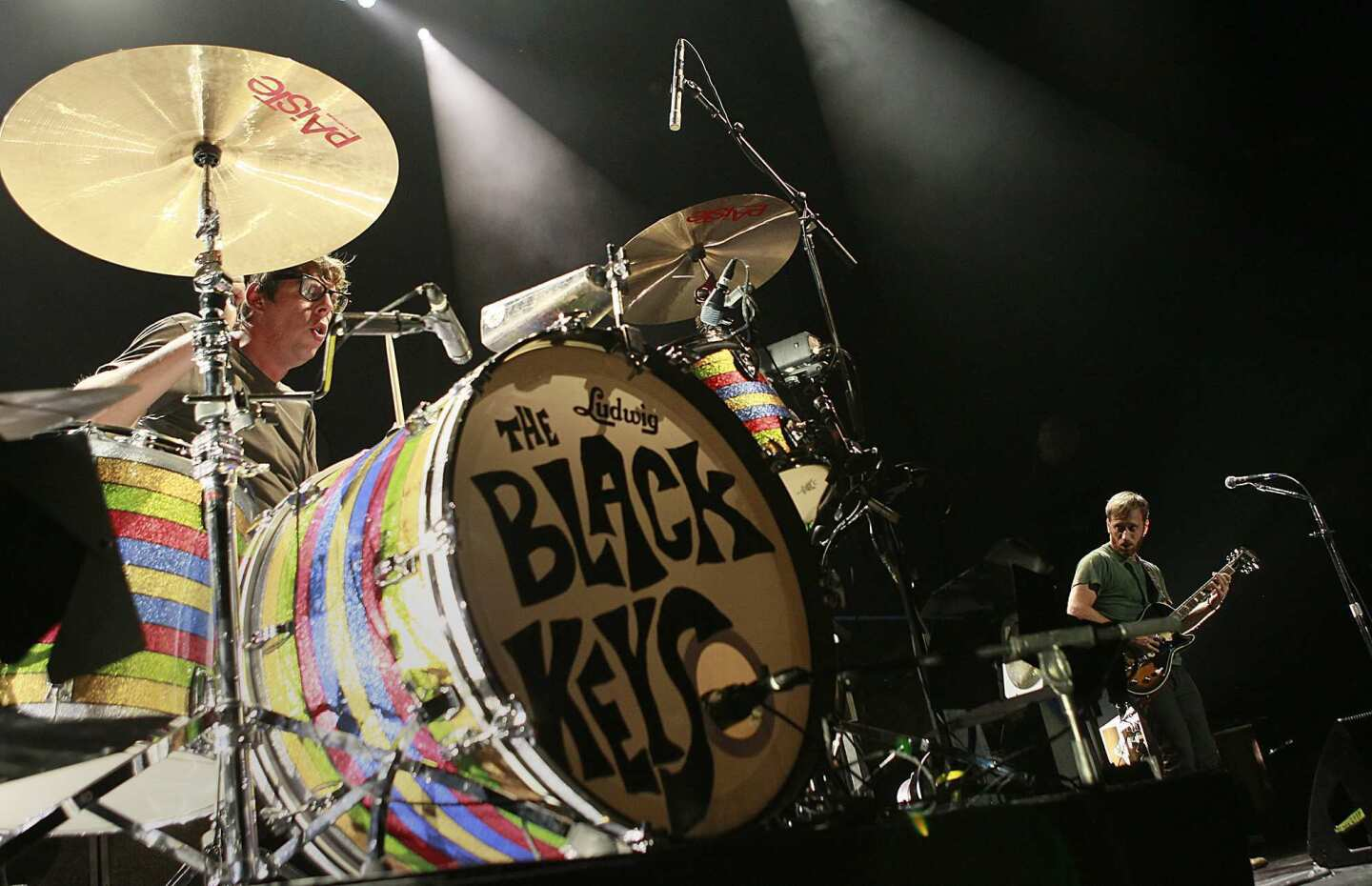 Patrick Carney, left, and Dan Auerbach of the Black Keys perform at Staples Center.