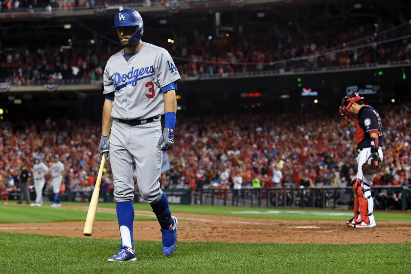 Dodgers left fielder Chris Taylor walks back to the dugout after striking out against Washington.