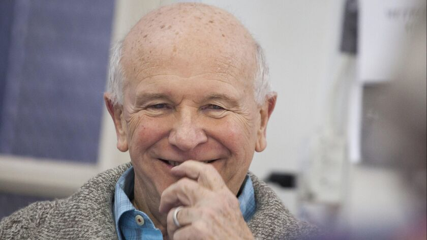 "NEW YORK -- JANUARY 31, 2014: Playwright Terrence McNally, works with actors on ""Mothers and Sons,"""
