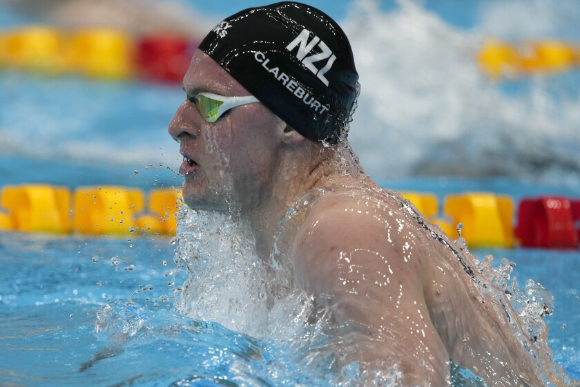 Lewis Clareburt, of New Zealand, swims during a heat for the men's 400-meter individual medley at the 2020 Summer Olympics, Saturday, July 24, 2021, in Tokyo, Japan. (AP Photo/Martin Meissner)