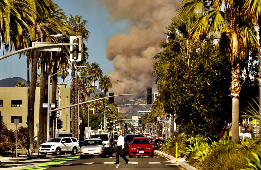 Smoke from the Palisades fire as seen from Santa Monica on Oct. 21.