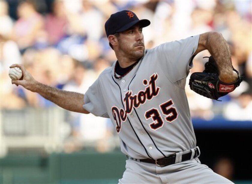 Detroit Tigers starting pitcher Justin Verlander throws in the second inning of a baseball game against the Kansas City Royals, Saturday, June 5, 2010, in Kansas City, Mo. (AP Photo/Ed Zurga)