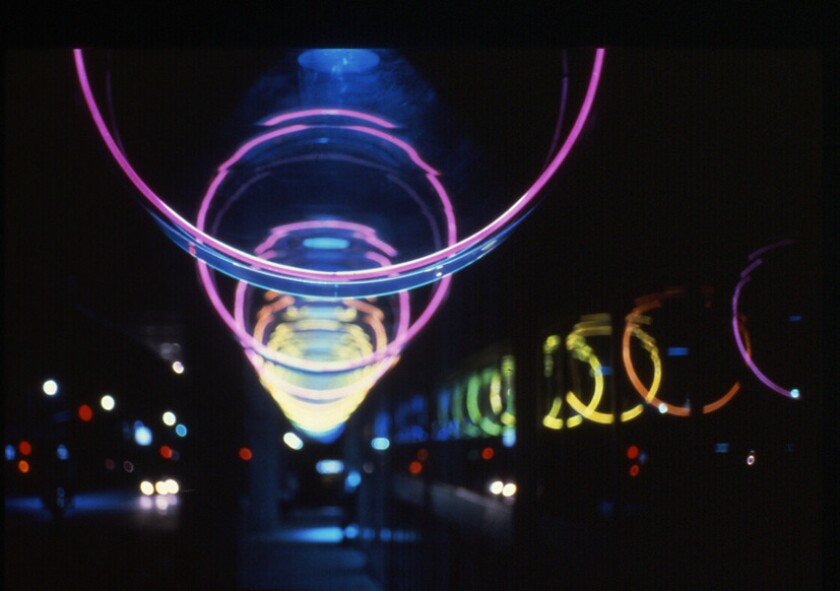 Light artist Michael Hayden's 270-foot cylindrical light installation from 1983 has been dark for the last decade. But it's about to shine once again near Pershing Square.