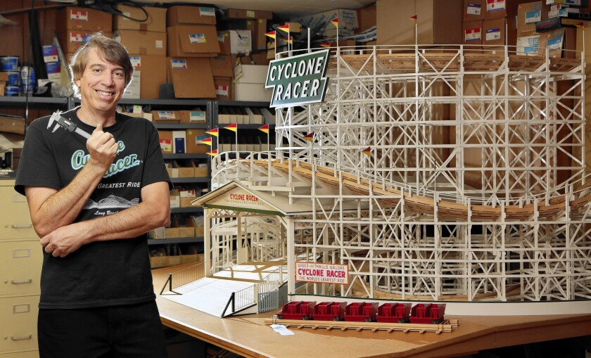 Larry Osterhoudt spent 17 years researching and meticulously building his scale model of the long-gone Cyclone Racer roller coaster that used to be part of the Long Beach Pike amusement park.