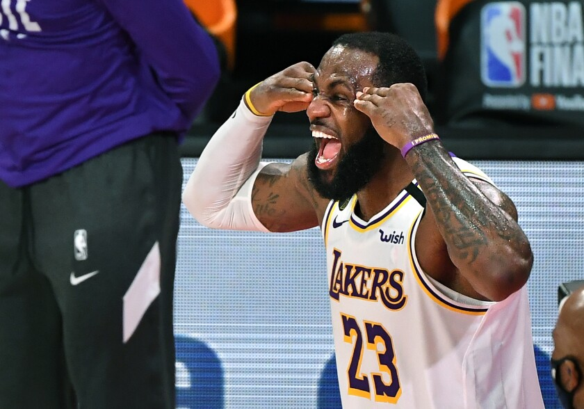 Lakers star LeBron James celebrates the NBA Championship earlier this month.