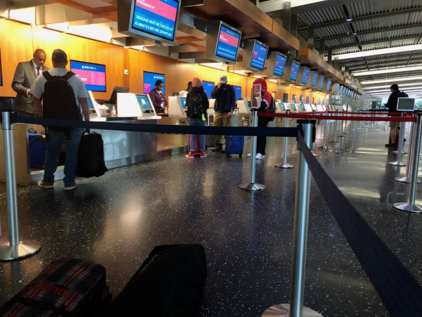 No lines at Delta Air Lines counter at San Diego International Airport