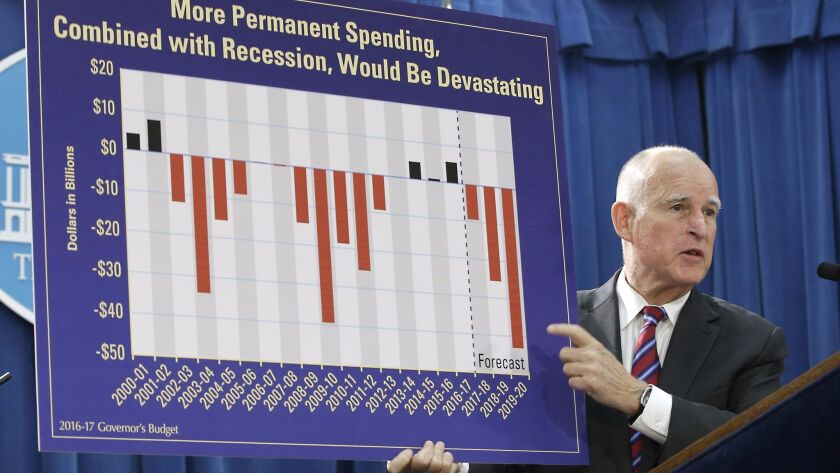 Gov. Jerry Brown warns against long-term spending at a news conference on Jan. 7, 2016.