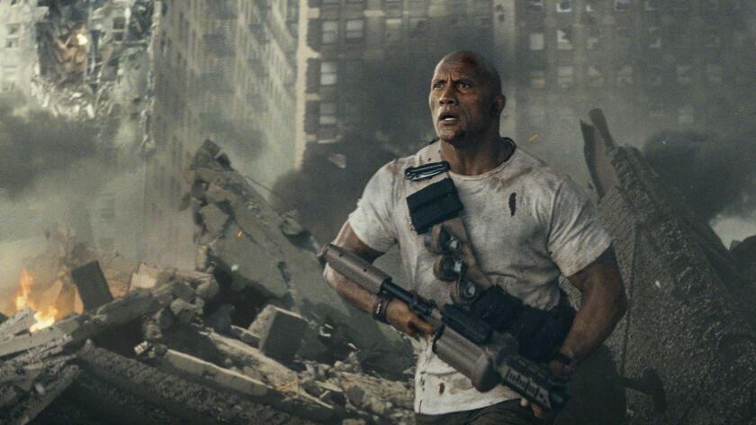 """Dwayne Johnson in the Warner Bros. and New Line Cinema movie """"Rampage,"""" loosely based on the arcade game of the same name."""