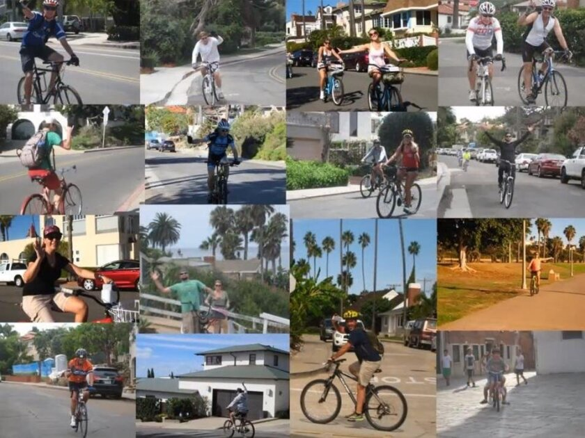 A slide from Sandie Linn's 2015 photo project on bicycling, with a focus on waving