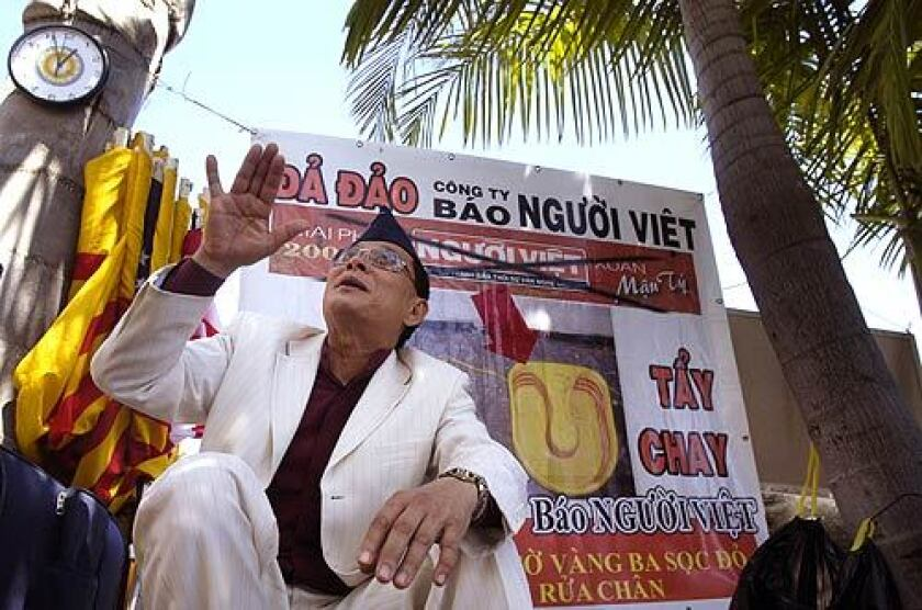 Ly Tong, an activist from San Jose, went on a hunger strike for three weeks to oppose the San Jose City Council's decision not to name the Vietnamese retail area Little Saigon. He joined a group protesting outside Nguoi Viet Daily News in Westminster over publication of a controversial piece of art.