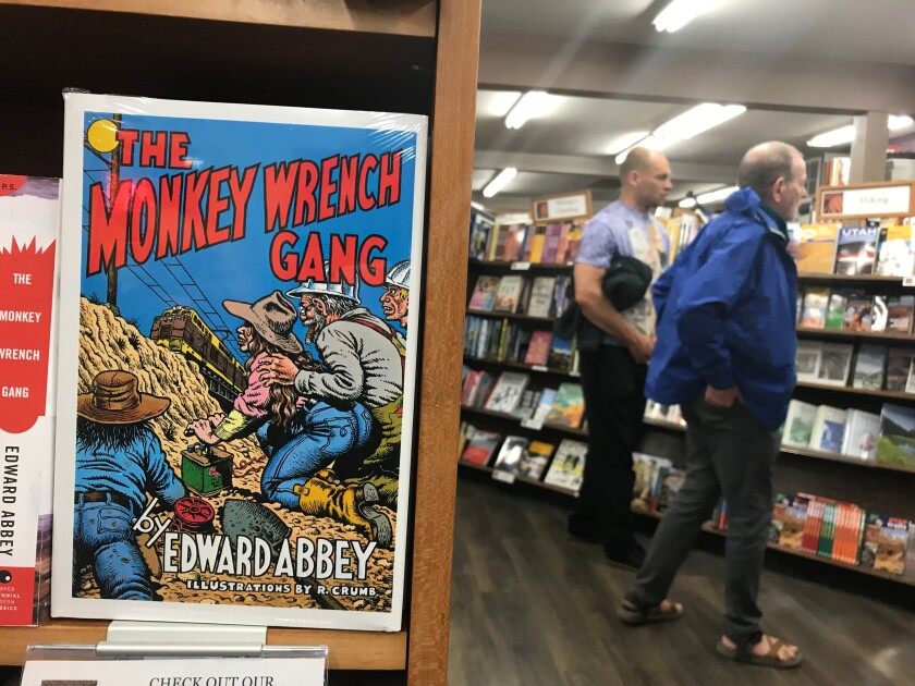 Back of Beyond Books, in Moab, Utah, gives prime shelf space to author Edward Abbey.