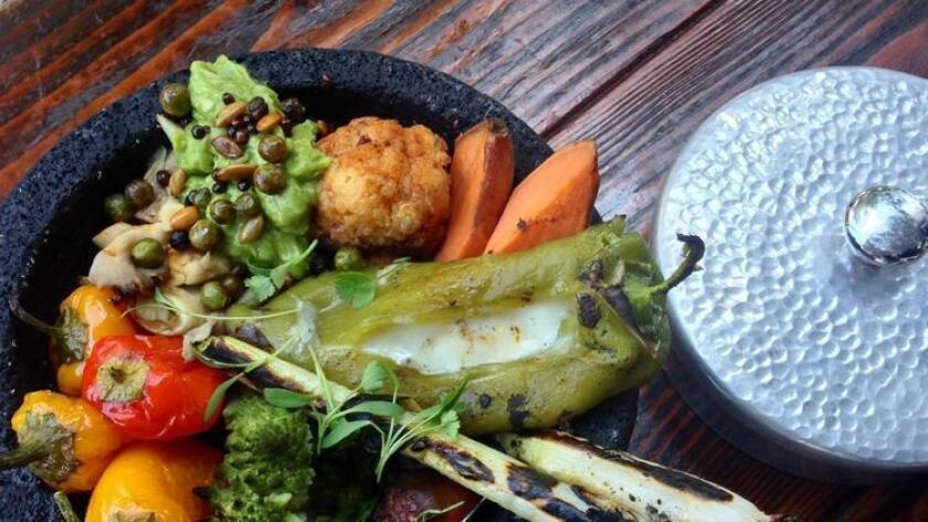 Bracero Cocina de Raiz's roasted vegetable molcajete (/ Liz Bowen)
