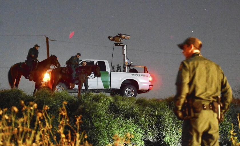 Border Patrol agents look for people suspected of crossing the Rio Grande illegally near McAllen, Texas.