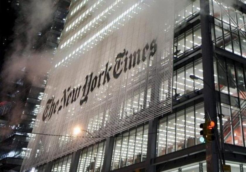 A view of the New York Times building in 2008.