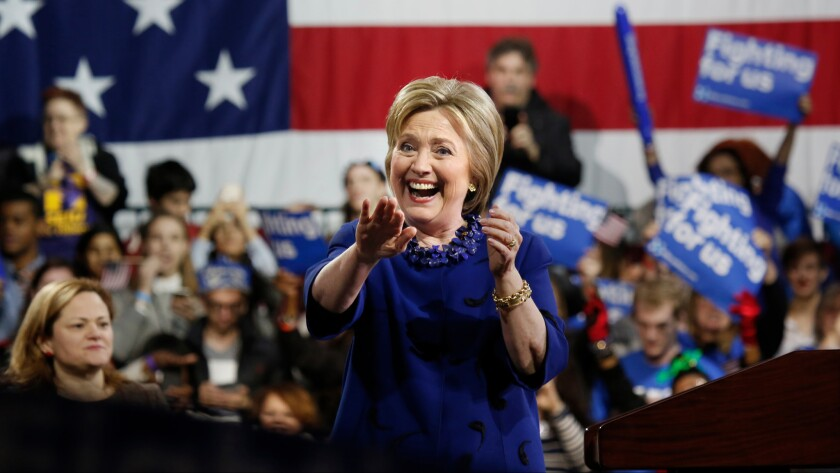 Hillary Clinton holds a rally in New York on March 2.