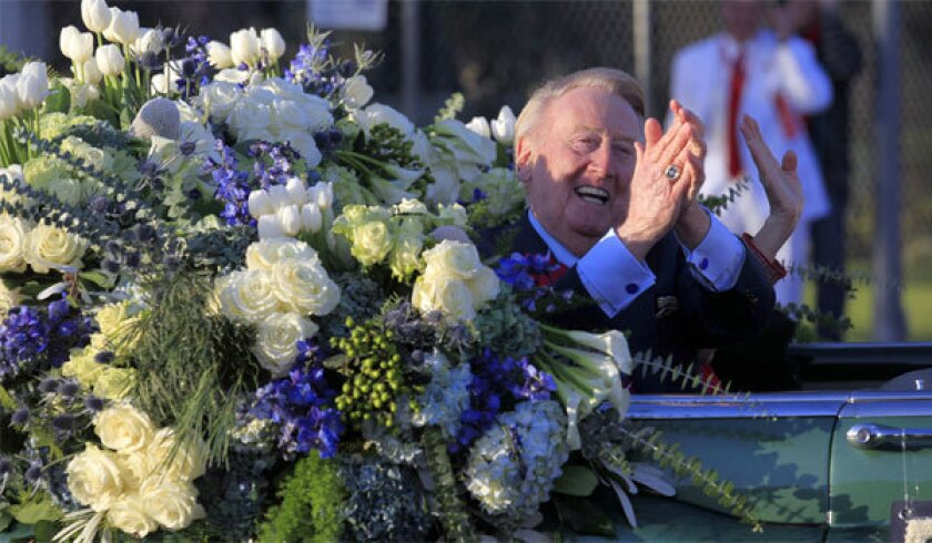 Dodgers broadcaster Vin Scully was the grand marshal for the 125th Rose Parade in Pasadena last month.