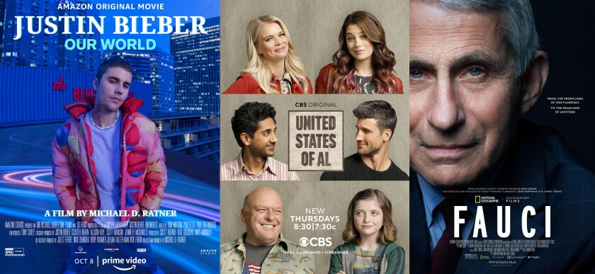 """This combination of photos shows promotional art for the film """"Justin Bieber: Our World,"""" premiering Oct. 8 on Amazon Prime, from left, the comedy series """"United States of Al,"""" airing Thursdays on CBS and the documentary """"Fauci,"""" available for streaming on Disney+. (Amazon via AP, left, and CBS via AP)"""