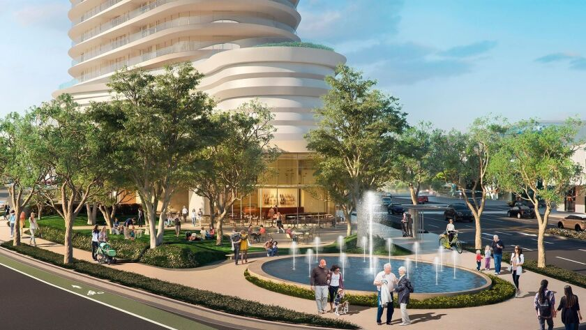 A rendering shows a residential development project proposed by Rick Caruso in Beverly Grove. The development would build luxury apartments at 333 S. La Cienega Blvd.