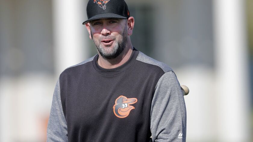 Baltimore Orioles manager Brandon Hyde walks on the field at their spring training baseball facility