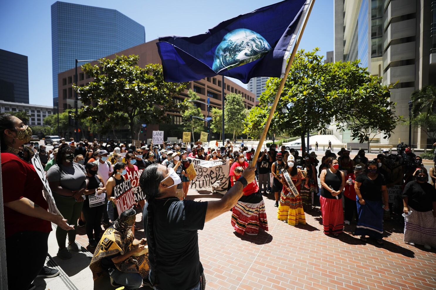 Protest against border wall construction that could desecrate ancient  Kumeyaay lands draws hundreds - The San Diego Union-Tribune