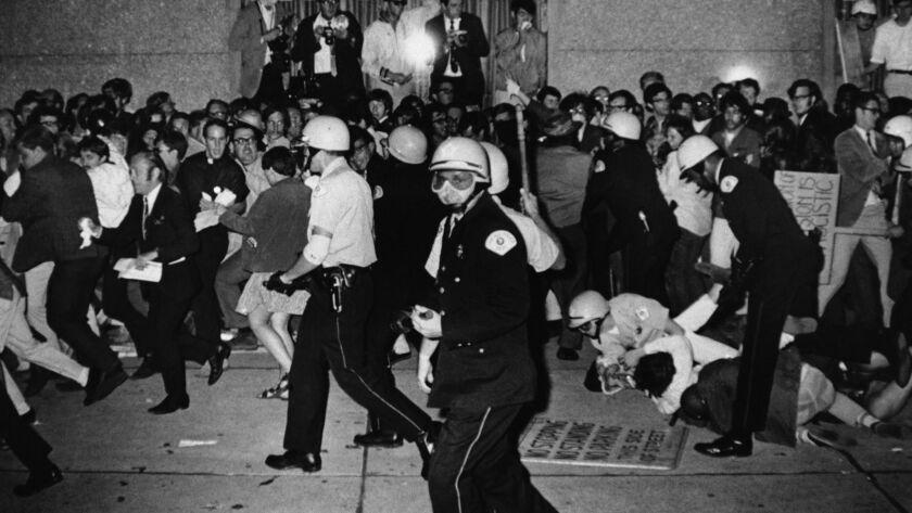 Chicago Police attempt to disperse demonstrators outside the Conrad Hilton, the downtown headquarters for the Democratic National Convention in Chicago, on Aug. 29, 1968.