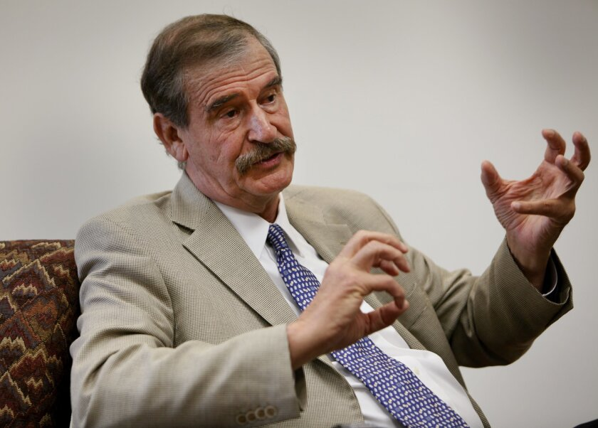 Former Mexican President Vicente Fox during an interview Thursday at the University of San Diego's Trans-Border Institute Photo by Peggy Peattie, U-T
