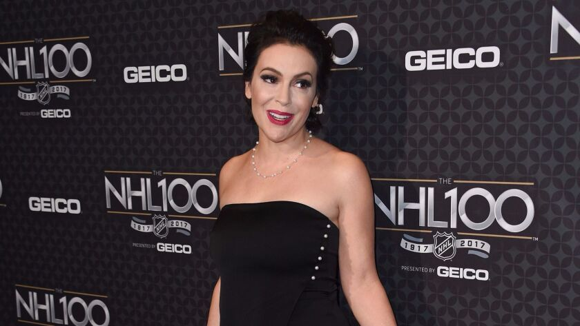Actress Alyssa Milano attends the NHL 100 gala at the Microsoft Theater in Los Angeles on Jan. 27, 2017.