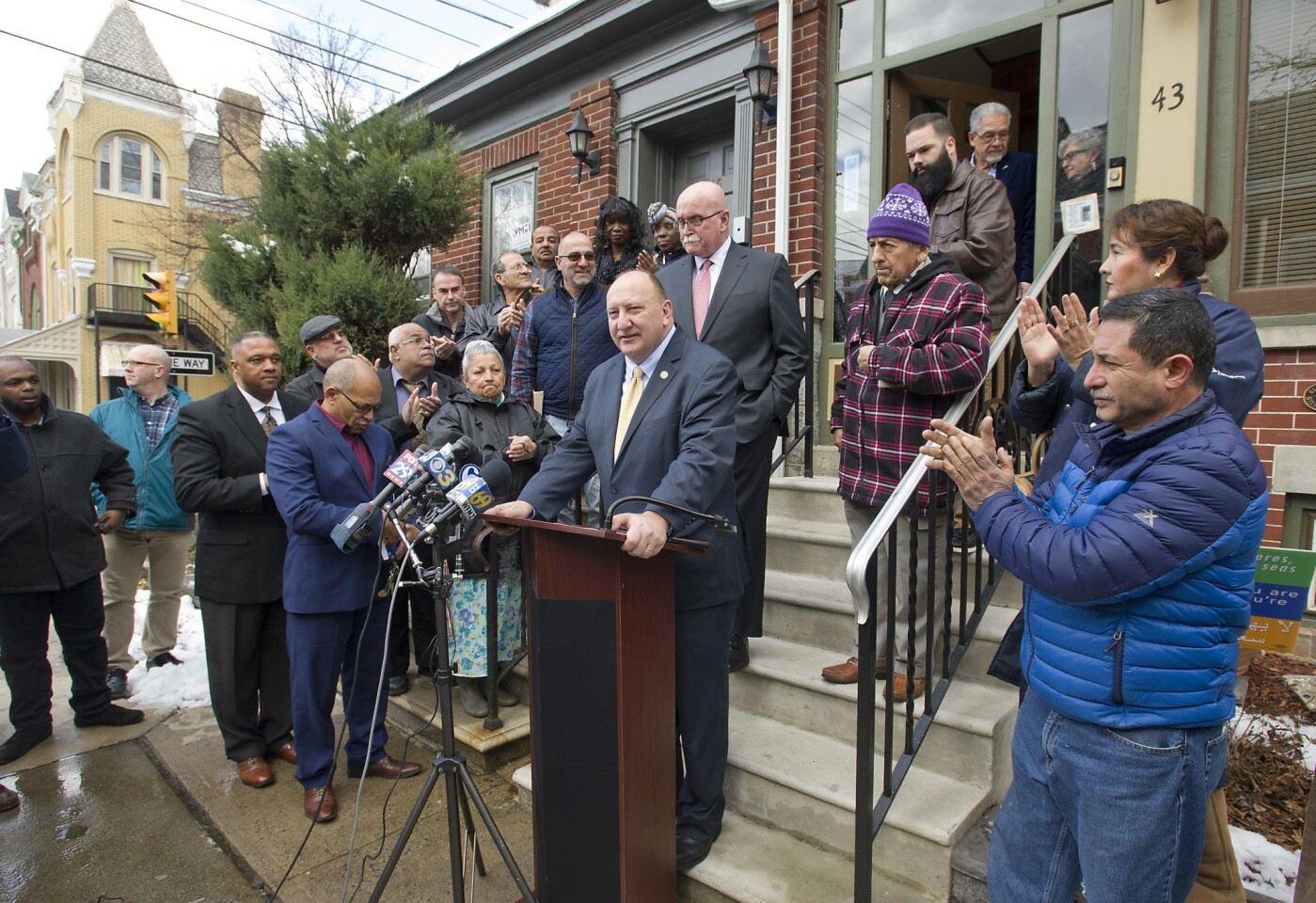 Surrounded by supporters in front of his North 11th Street home, Allentown Mayor Ed Pawlowski announces that he will resign from office during a news conference on Thursday, March 8, 2018. Pawlowski said he will resign from office at 5 p.m. Friday, ending what could have been one of the brightest tenures in Allentown history, but will instead be remembered as a chapter of corruption and malfeasance.