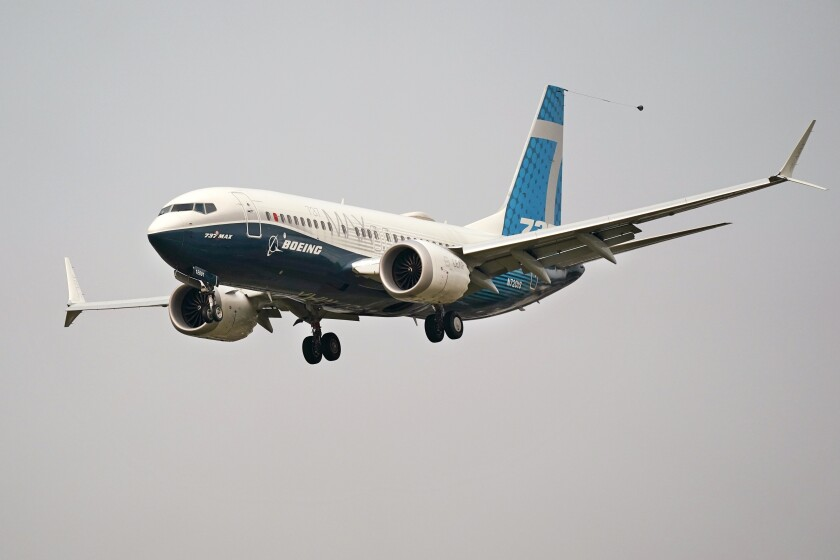 A Boeing 737 Max jet in flight
