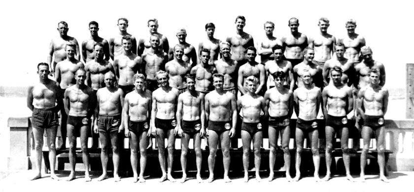 San Diego lifeguard staff 1946. Not every lifeguard is identified, but picture contains: Duane Cantor, John Kowal, Carl Eilers, Alexander Graham, Ken Haygood (sixth from left, top row), Walter Schachteback, Dick 'Storm Surf' Taylor, George Coleman, Ed Teagle, Benny Edens, Gordon Penwarden, George A