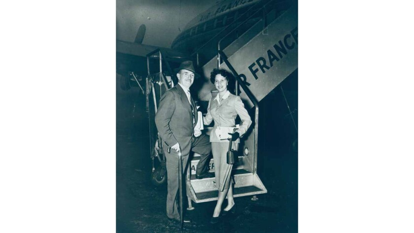 Jack Warner with his daughter Barbara in 1950.