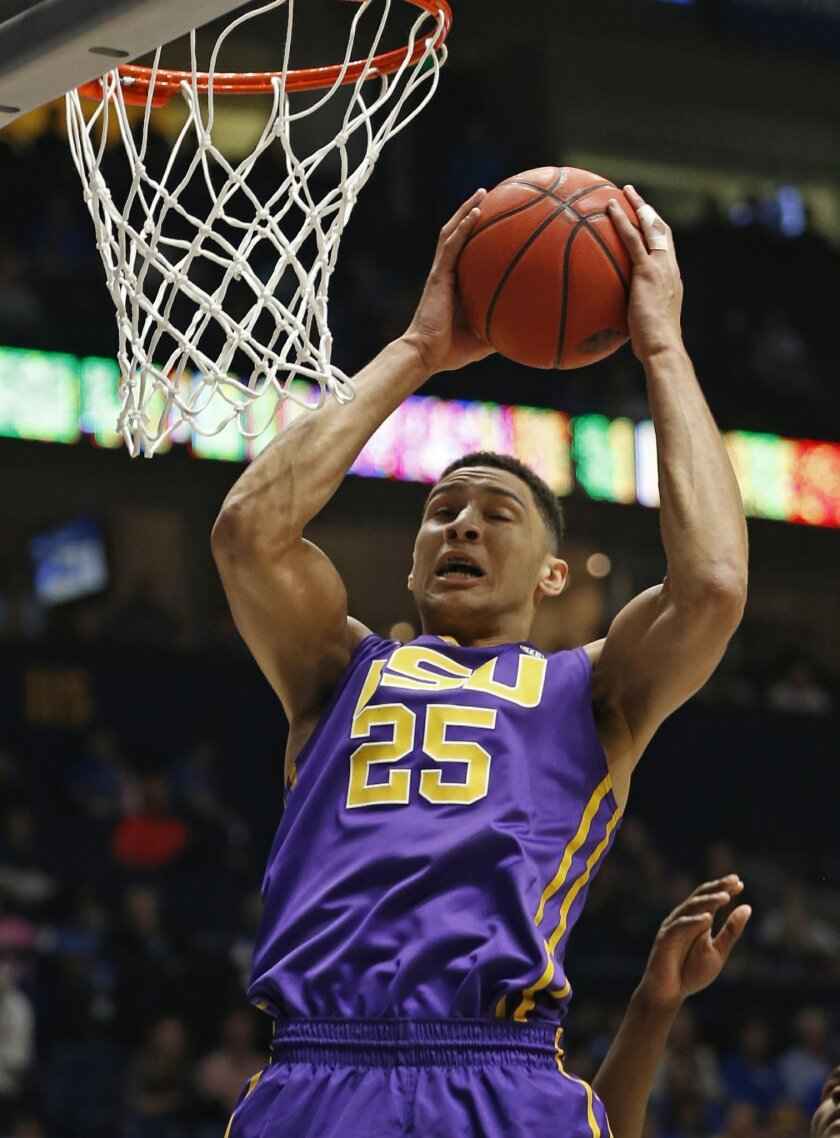 FILE - In this March 12, 2016 file photo, LSU's Ben Simmons (25) grabs a rebound against Texas A&M during the first half of an NCAA college basketball game in the Southeastern Conference tournament in Nashville, Tenn. Simmons and Duke's Brandon Ingram are expected to be selected with the top two pi