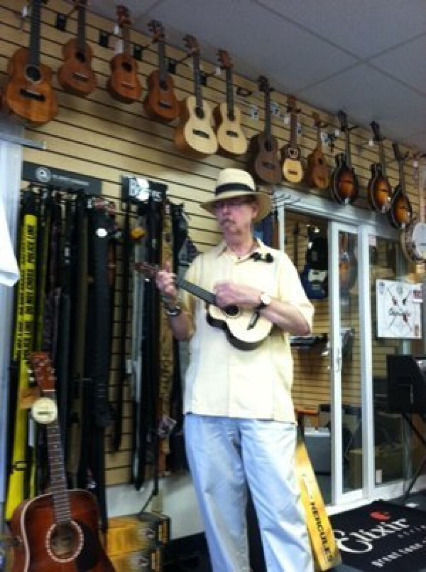 DeForest Thornburgh, a uke player and proprietor of Blue Guitar, a store in the Mission Gorge area.