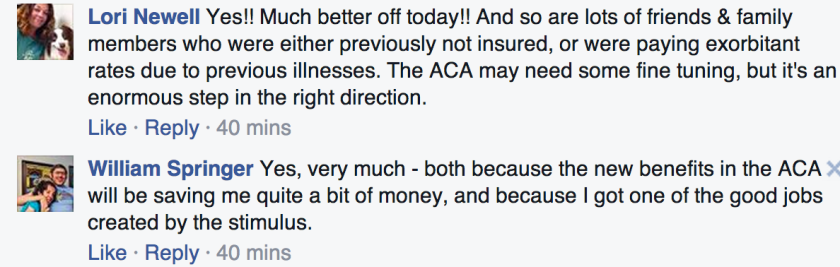 Not what Sen. Cruz had in mind: A couple of recent responses to his Obamacare survey.