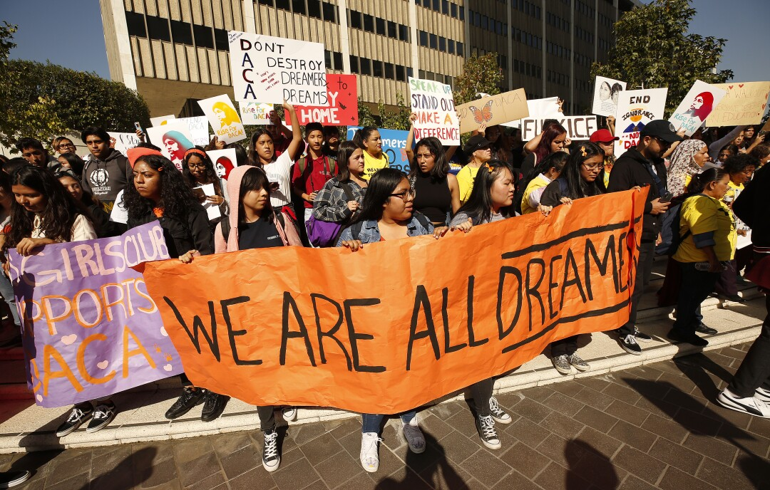 High school students and others rally at the Roybal Federal Building in downtown Los Angeles.