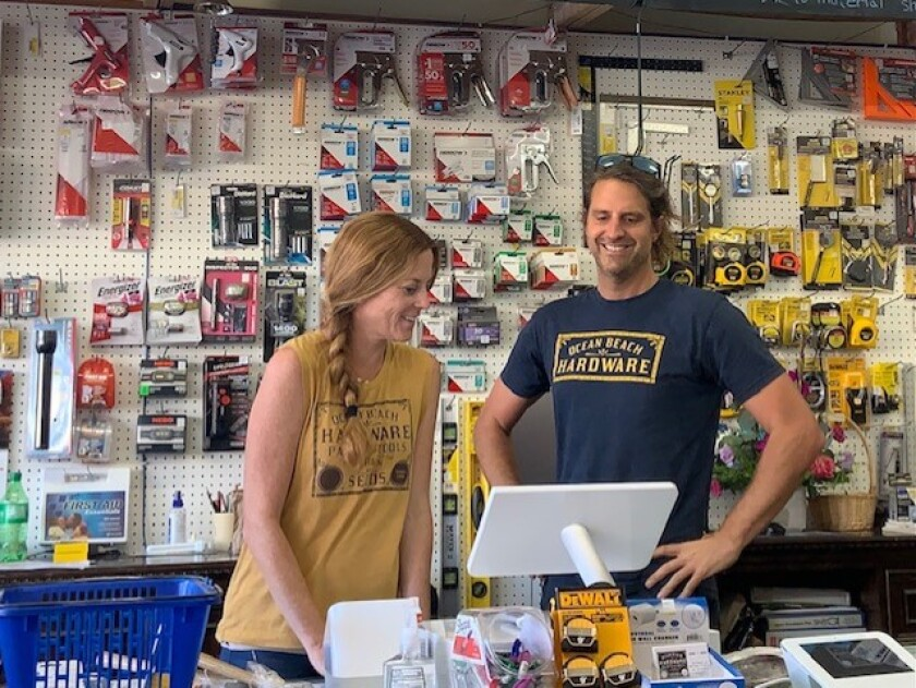 Jenae and Joe Kuchman have rescued historic Ocean Beach Hardware store from closure. They became owners on Sept. 1, 2021.