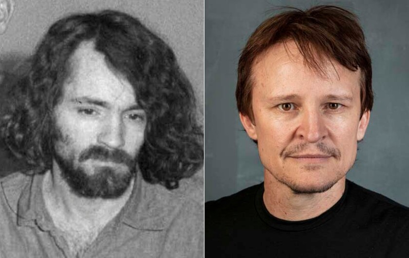 "Charles Manson, left, and Damon Herriman, who plays him in ""Mindhunter"" and ""Once Upon a Time... in Hollywood"""