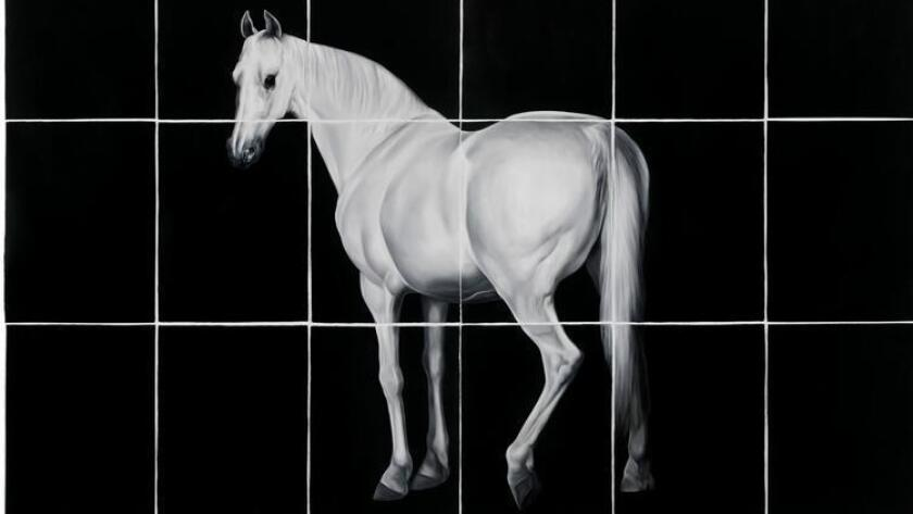 """""""White Horse,"""" oil on paper, by Shelley Reed, who will be Lux Art Institute's first artist in residence during the 2017-18 season. (Courtesy photo by Stewart Clements)"""