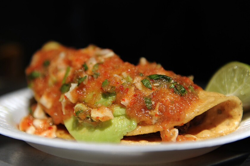 Tacos dorados de camarones at the Mariscos Jalisco taco truck, parked in downtown L.A. for the last 15 years.