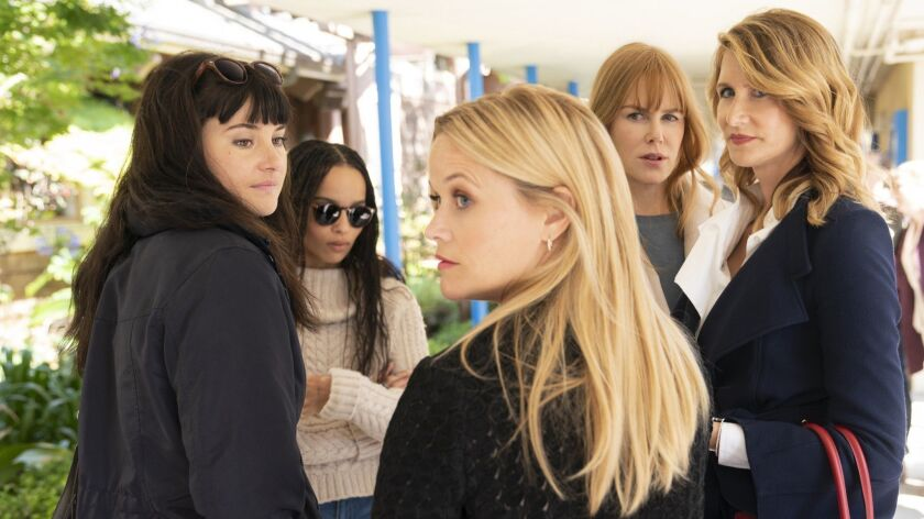 "Shailene Woodley, left, Zoë Kravitz, Reese Witherspoon, Nicole Kidman and Laura Dern in ""Big Little Lies"""