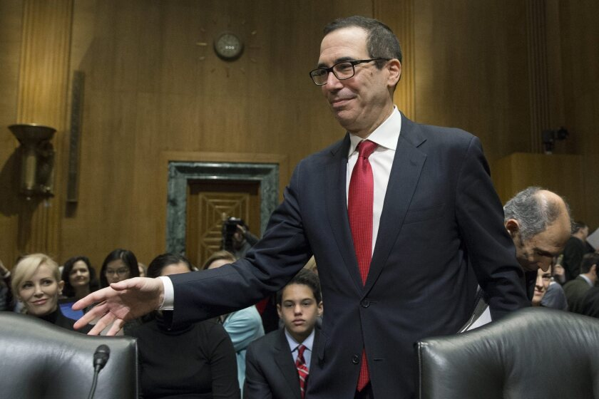 Treasury Secretary nominee Steven Mnuchin arrives to testify at his confirmation hearing by the Senate Finance Committee on Jan. 19.