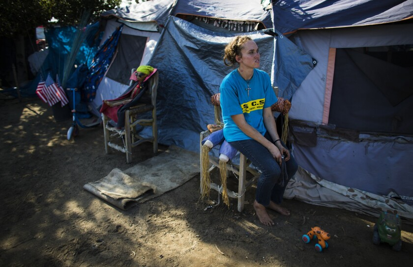 ORANGE, CA - JANUARY 17, 2018: Ashley Foster,23, has been living in the homeless encampment along th