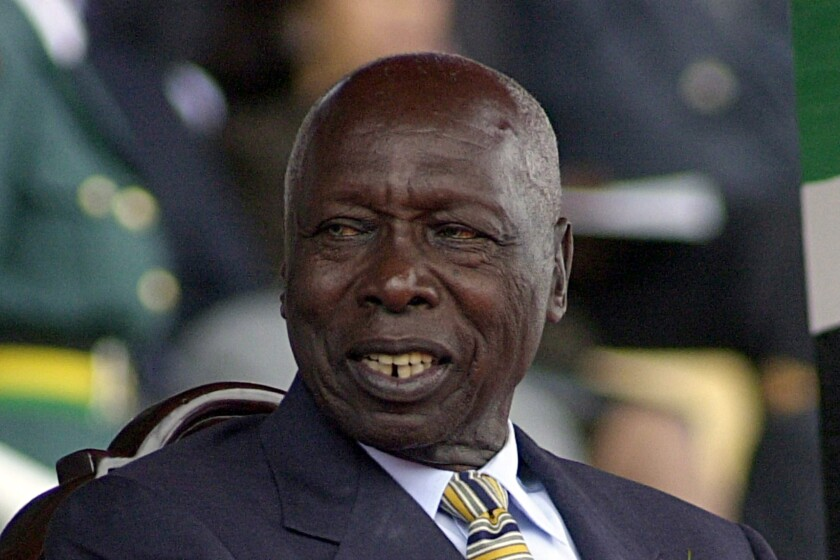 FILE - In this October, 2002, file photo, shows former Kenya's President Daniel arap Moi. Moi, a former schoolteacher who became Kenya's longest-serving president and presided over years of repression and economic turmoil fueled by runaway corruption, has died. He was 95. (AP Photo/Sayyid Azim, File)