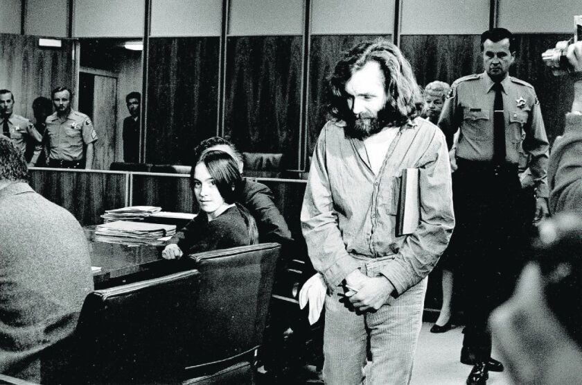 Charles Manson walks into a Santa Monica courtroom on Oct. 13, 1970.