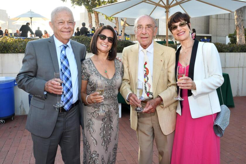 Robert and Luisa Sanchez with former Salk president and 1977 Nobel Laureate Roger Guillemin and Claire Guillemin