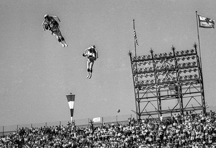 Jan. 15, 1967:  The Bell Rocket Air Men perform as part of the halftime show at first Super Bowl game at Los Angeles Memorial Coliseum.